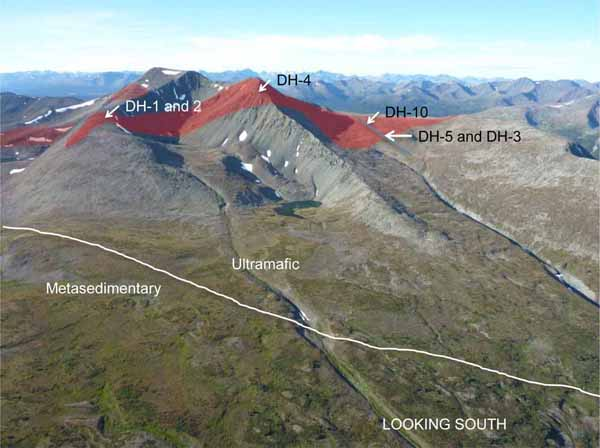 Wale Property -- Eagle Target defined in red; distance between DH-1 and DH-3 is 1,190 metres.