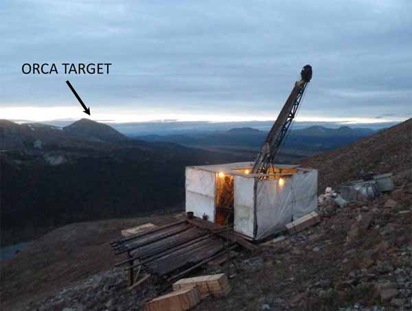 """Wide-spaced exploration drilling of hole DH-07 at Wale """"Eagle Target""""; the Orca Target is visible to the northwest."""