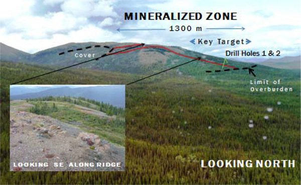 Figure 2. Mich Key Target/Mineralized Zone and Trace of Holes 1 & 2.