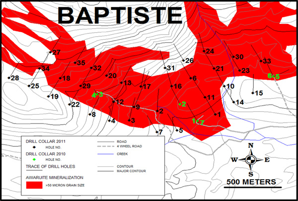 Baptiste 2010 & 2011 Drill Hole Location Map